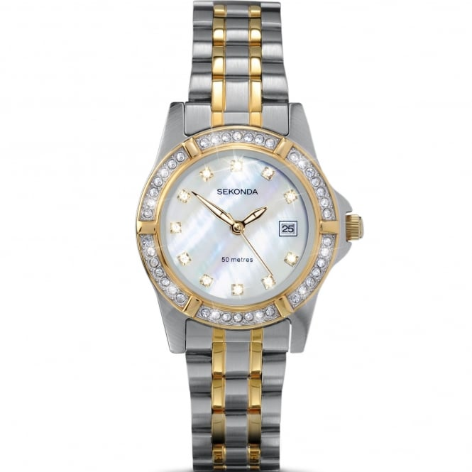Ladies' Two Tone Stone Set Twilight Pearl Watch 4174