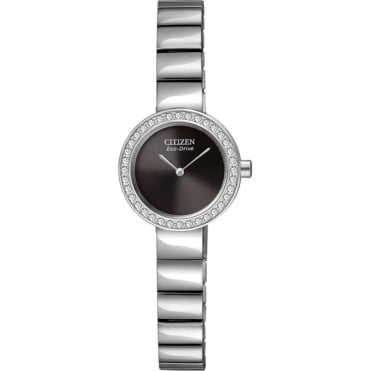 Ladies's S/Steel Stone Set Eco-Drive Watch EX1260-54E