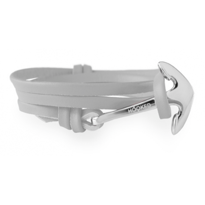 Light Grey Leather & Silver Bracelet ASL16