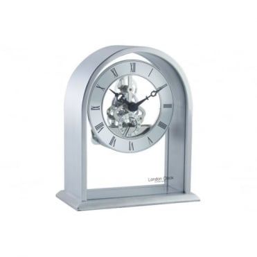 London Clock Company Brushed Silver Skeleton Arch Mantel Clock 03127