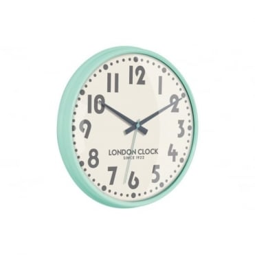 London Clock Company Mint Green Gloss Wall Clock 24322