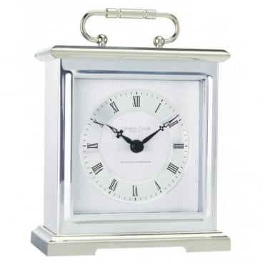 London Clock Company Silver Carriage Westminster Chime Clock 03036