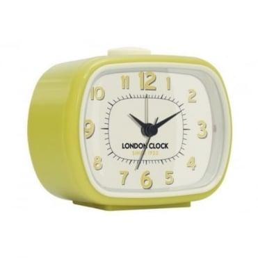 London Clock Company Yellow Retro Sweeping Alarm Clock 34368