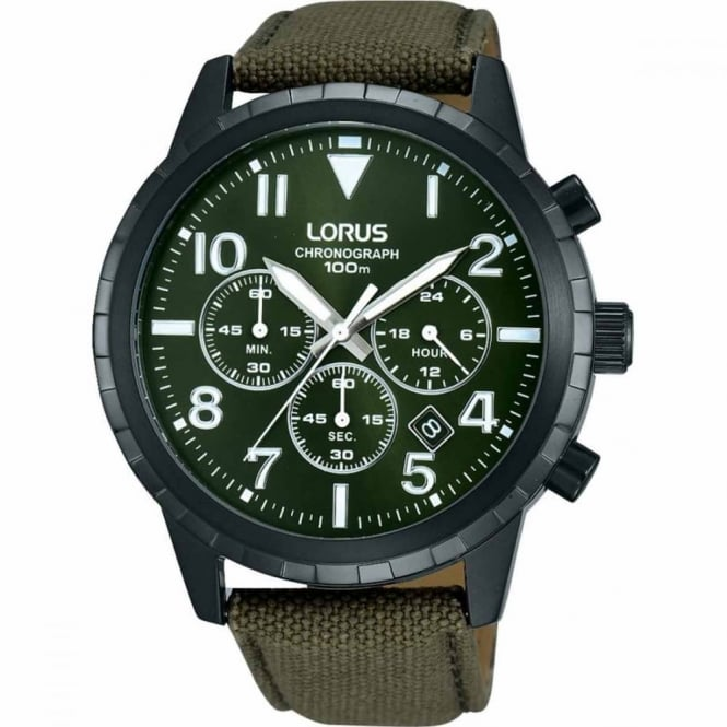 Lorus Gent's Black PVD Fabric Chrono Watch RT337FX9