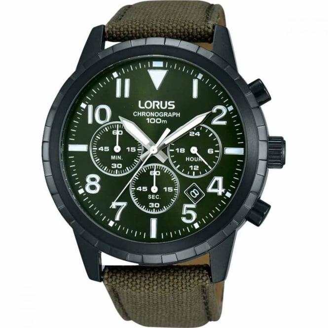 Lorus Gent's Black PVD Fabric Chrono Watch RT337FX9