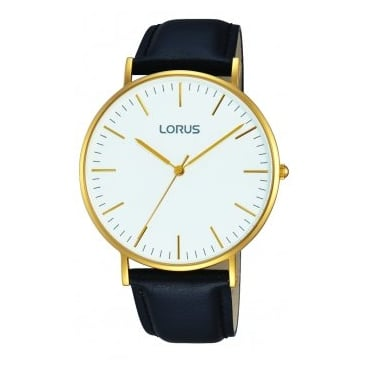 Lorus Gents G/P Black Leather Strap Watch RH882BX9