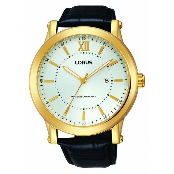 Lorus Gent's Gold Plate Black Leather Watch RH906FX9