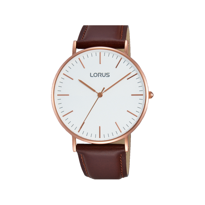 Lorus Gent's Rose Gold Plate Brown Leather Watch RH880BX9