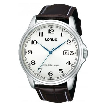 Lorus Gent's S/Steel Black Leather Watch RS985AX9