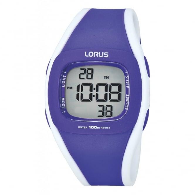 Lorus Kids Kids Purple & White Digital Alarm Chrono Watch R2343GX9
