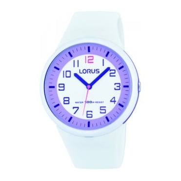 Kids White & Purple Silicone Watch RRX61DX9