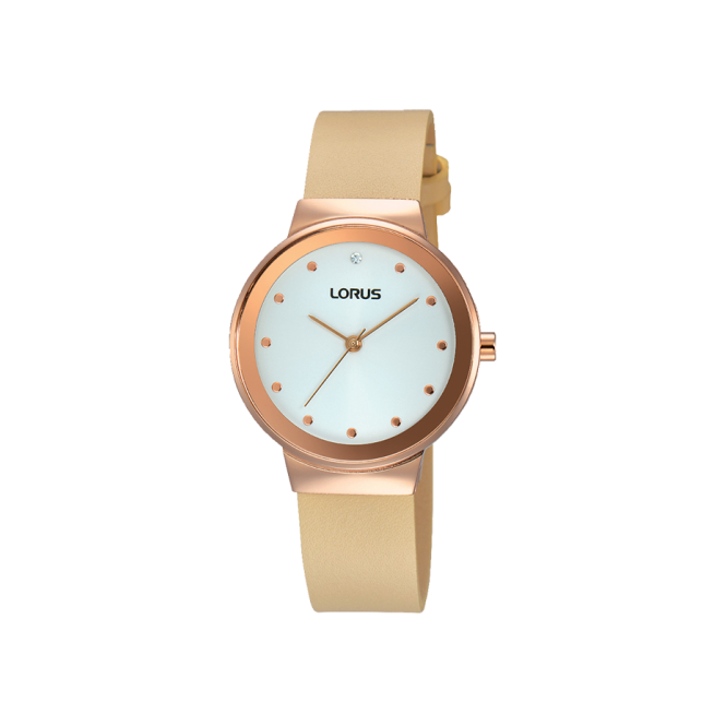 Lorus Ladies' Gold Plate Leather Strap Watch RG270JX9