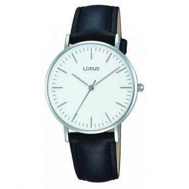 Ladies S/Steel Black Leather Strap Watch RH887BX9