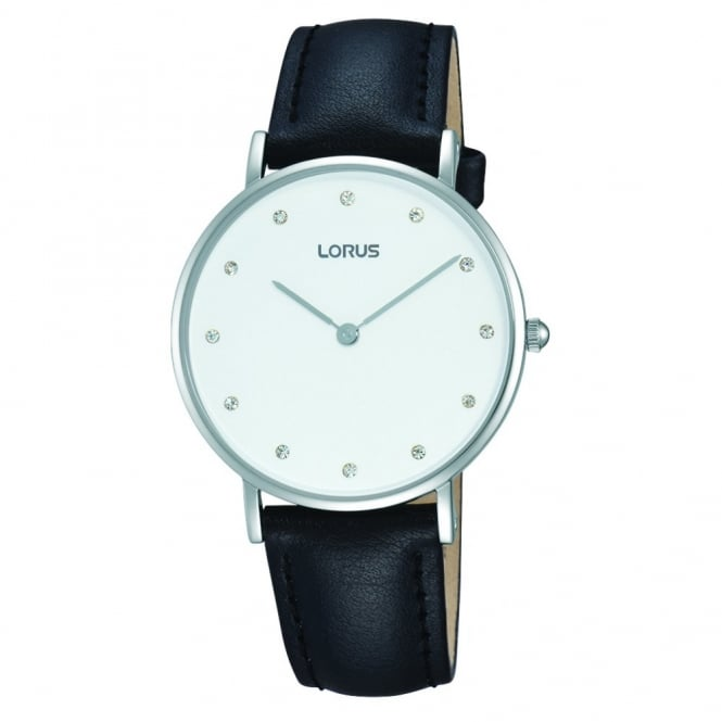 Lorus Ladies' S/Steel Black Leather Watch RM201AX9