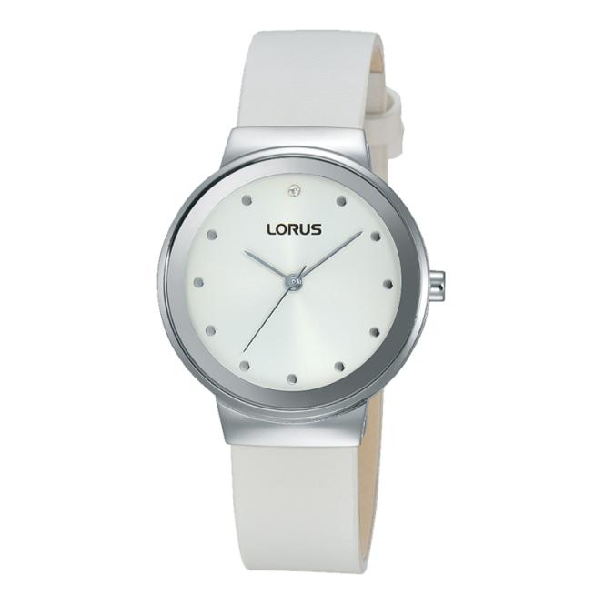 Lorus Ladies S/Steel White Leather Watch RG271JX9