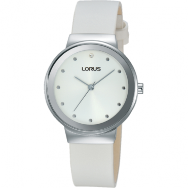 Lorus Ladies S/Steel White Leather Watch RG271JX9