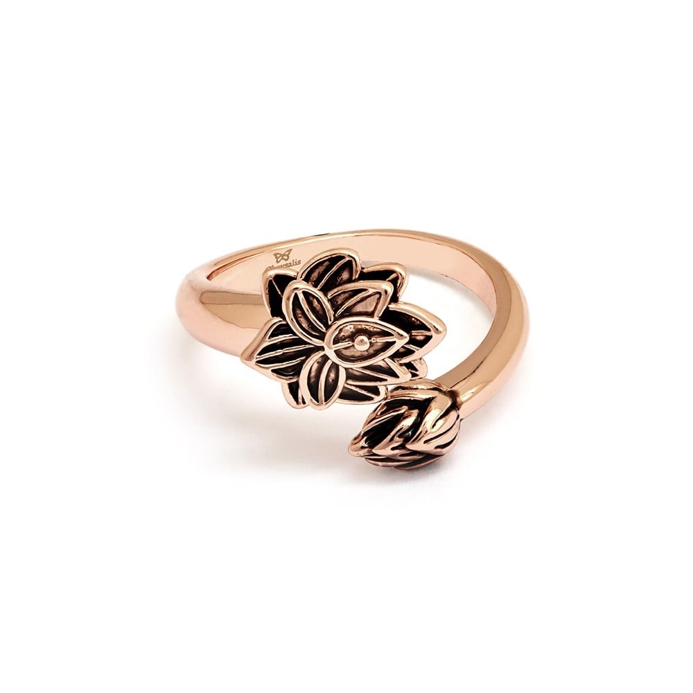 Lotus Flower Gold Plated Ring Crrt0508ar