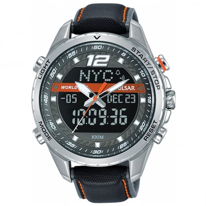Men's Black Leather Analogue Digital Watch PZ4029X1