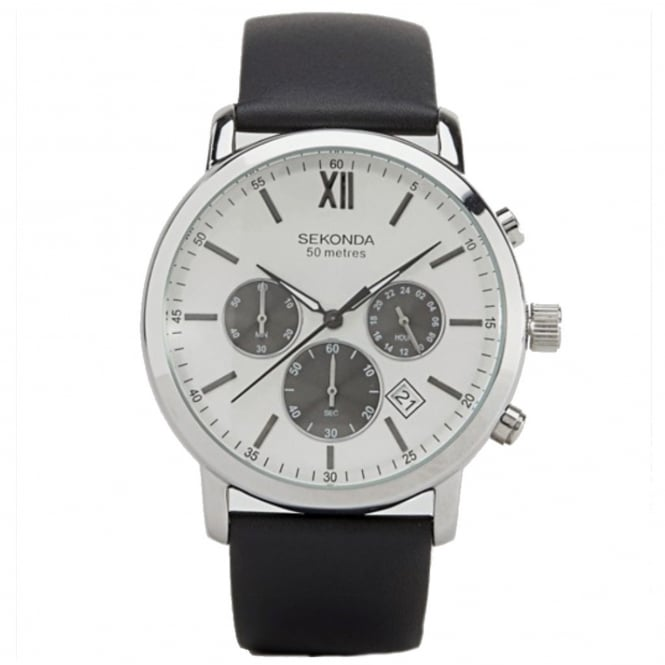 Men's Black Leather Chronograph Watch 1205