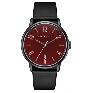 Men's Black Leather Daniel Watch TE10030754
