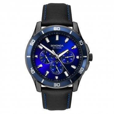 431c5c7c6bff Sekonda Men s Black Leather Midnight Blue Watch 1634
