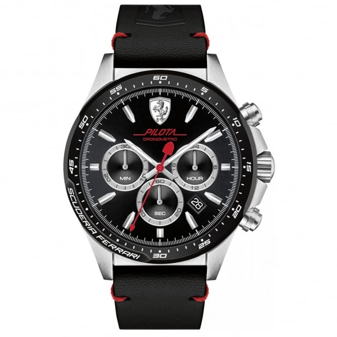 Men's Black Leather Pilota Watch 0830389