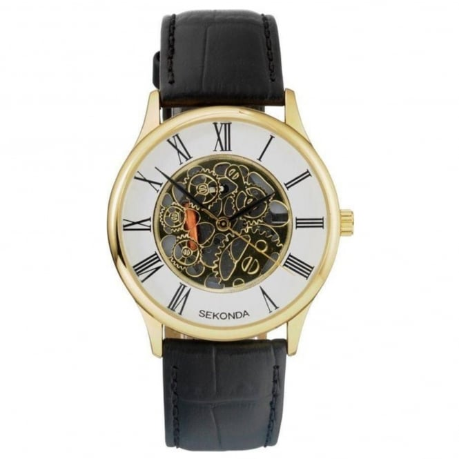 Men's Black Leather Skeleton Watch 3426