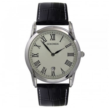 Men's Black Leather Strap Watch 3018