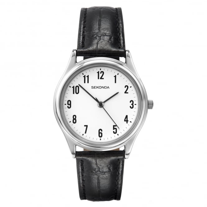 Men's Black Leather Strap Watch 3621