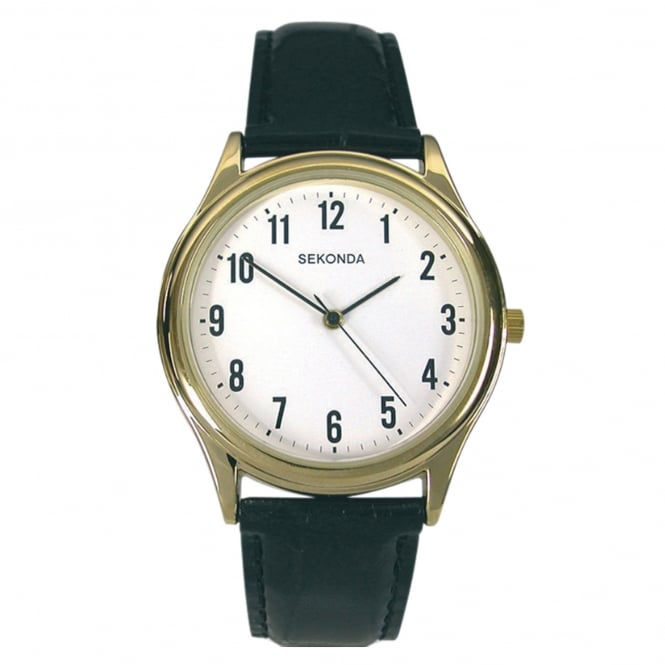 Men's Black Leather Strap Watch 3623