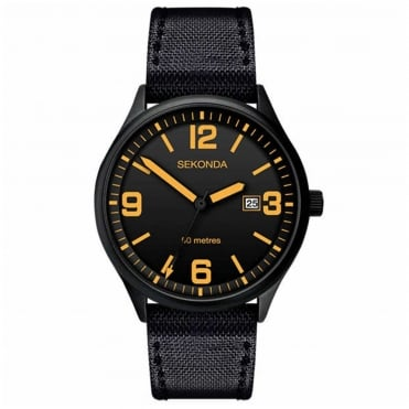 Men's Black Nylon Strap Watch 1388