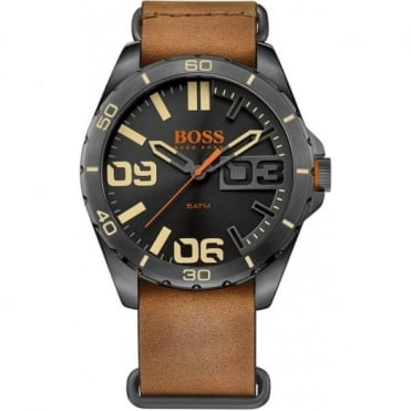 Men's Black PVD Brown Leather Watch 1513316