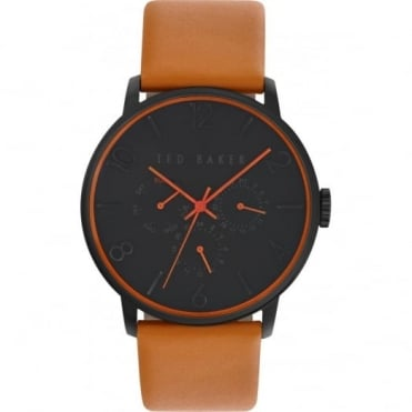 Ted Baker Men's Black PVD Tan Leather Multi Dial Watch TE10023490