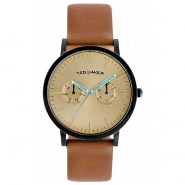 Ted Baker Men's Black PVD Tan Leather Multi Dial Watch TE1094