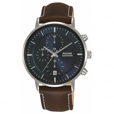 Men's Brown Leather Chronograph Watch PM3079X1