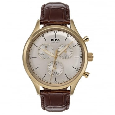 Men's Brown Leather Companion Chronograph Watch 1513545