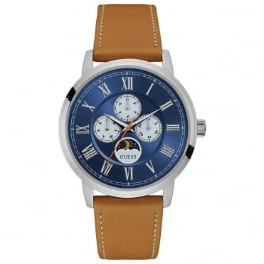 Men's Brown Leather Delancy Watch W0870G4