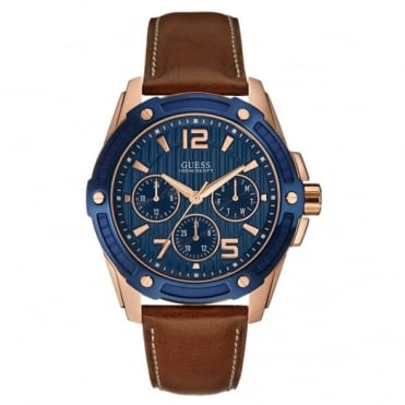 Men's Brown Leather Flagship Chrono Watch W0600G3