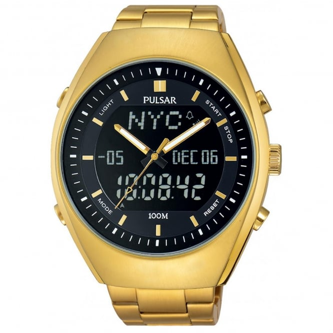 Men's Gold Plate Analogue Digital Watch PZ4012X1