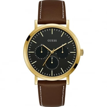 Men's Gold Plate Brown Leather Slate Watch W1044G1