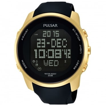 Men's Gold Plated Black Strap Digital Watch PQ2048X1
