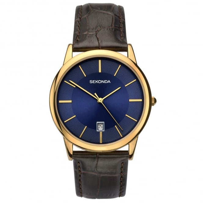 Men's Gold Plated Brown Leather Watch 1371
