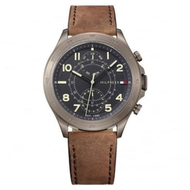 Tommy Hilfiger Men's Gun Metal Brown Leather Hudson Watch 1791343