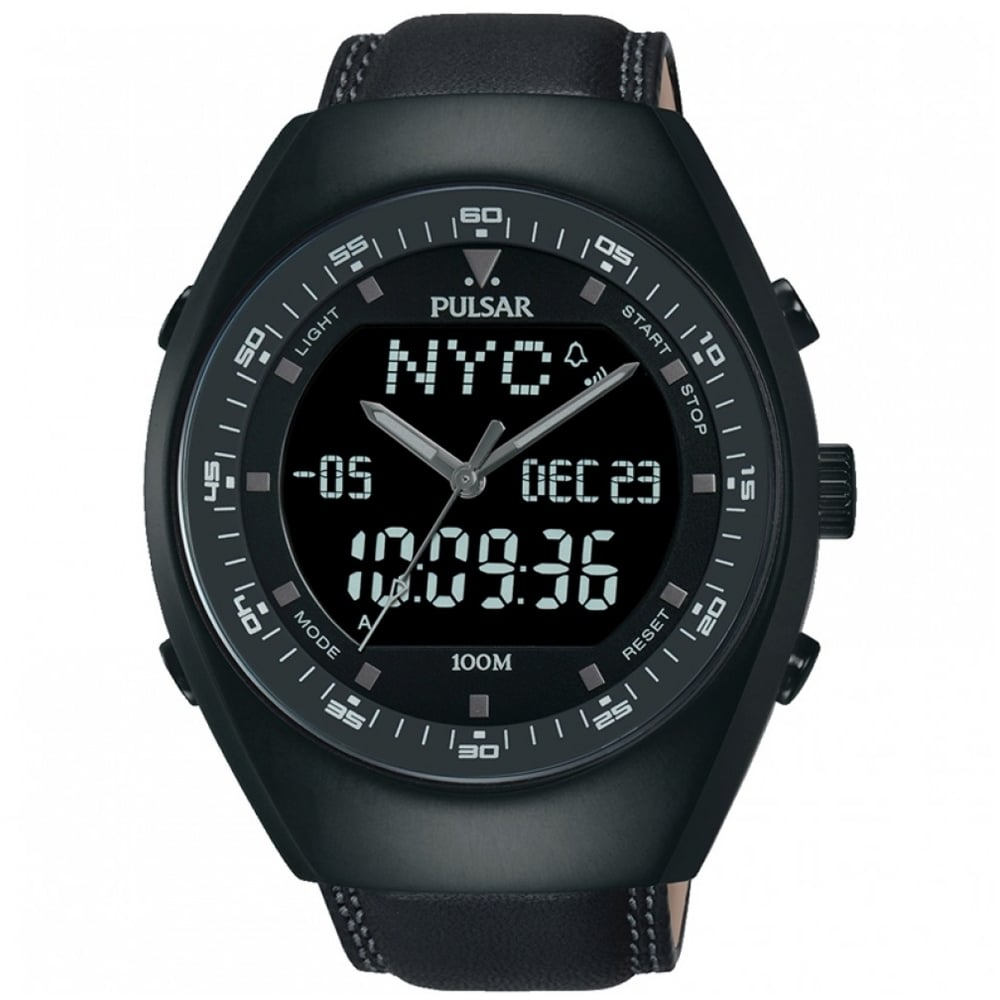 4e8d1d6c2 Men's Pulsar Black Leather Analogue Digital Watch PZ4019X1 - Watches ...