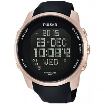 Men's Rose Gold Black Rubber Digital Watch PQ2046X1