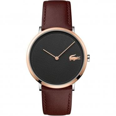 Men's Rose Gold Plated & Brown Leather Strap Watch 2010952