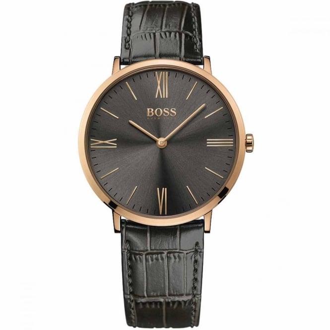 7fe8e8494 Hugo Boss Men's Rose Gold Plated Grey Leather Jackson Watch 1513372