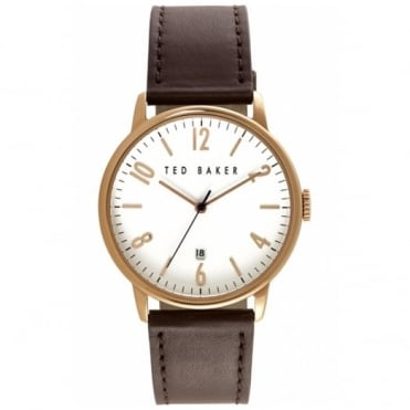 Men's Rose Plate Brown Leather Watch TE10030651