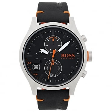 Men's S/Steel Black Leather Amsterdam Watch 1550020