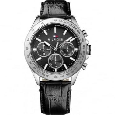 Tommy Hilfiger Men's S/Steel Black Leather Hudson Watch 1791224